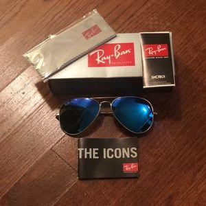 Ray Ban Aviator Flash Lenses - Blue and Gold